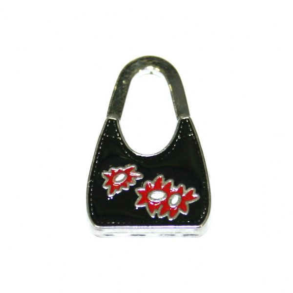 1 x 28*17mm rhodium plated long string black handbag enamel charm - SD03 - CHE1025